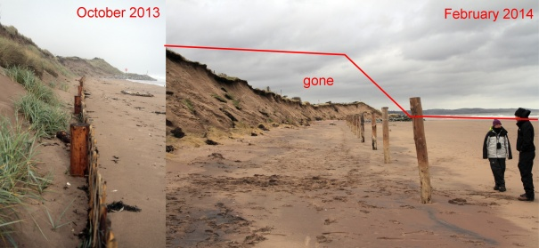 Photos showing depth of sand lost Oct 2013- Feb 2014 in Montrose Bay